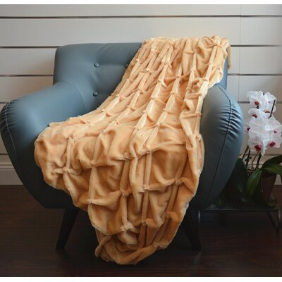 Plush Plaid Throw Blanket Color: Camel
