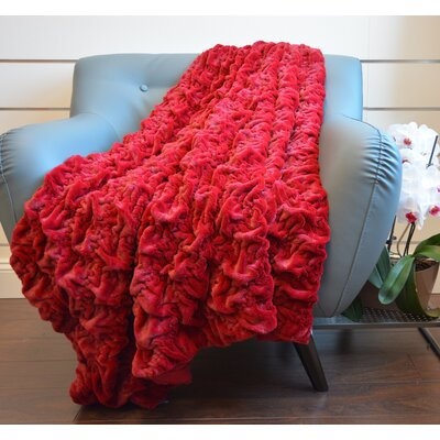 Plush Chunky Quilted Throw Blanket Color: Burgundy