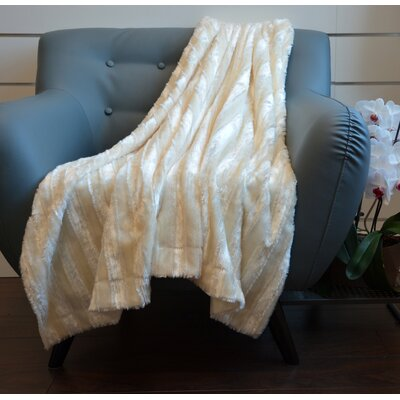 Plush Stripped Throw Blanket Color: Cream