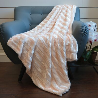 Plush Stripped Throw Blanket Color: Champagne