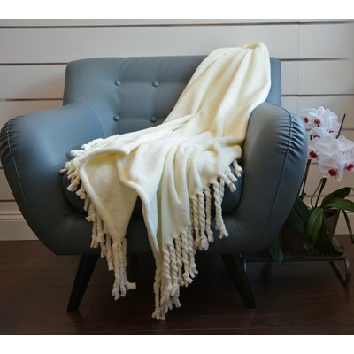 Soft Fringe Throw Blanket Color: Cream