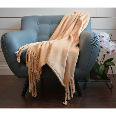 Soft Fringe Throw Blanket Color: Camel