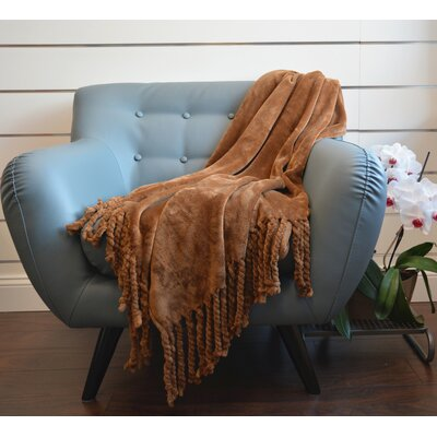 Soft Fringe Throw Blanket Color: Coffee