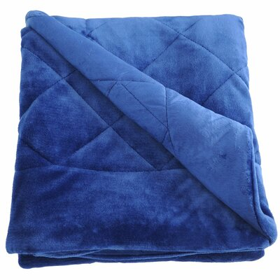 Velvet Quilted Throw Blanket Color: Dark Blue