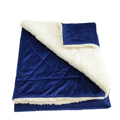 Candelaria Micro-Mink Oversized Quilting Throw Blanket Color: Dark Blue