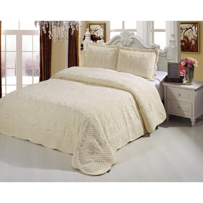 Plush Soft 3 Piece Queen Coverlet Set Color: Beige