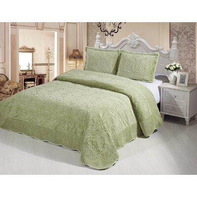 Plush Soft 3 Piece Queen Coverlet Set Color: Green