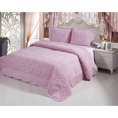 Plush Soft 3 Piece Queen Coverlet Set Color: Pink