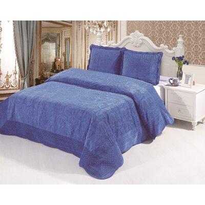 Plush Soft 3 Piece Queen Coverlet Set Color: Royal Blue