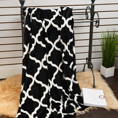 Quatrefoil Plush Soft Throw Blanket Color: Black