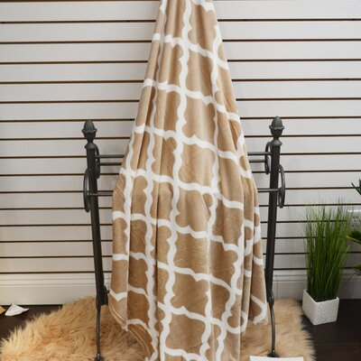 Quatrefoil Plush Soft Throw Blanket Color: Camel