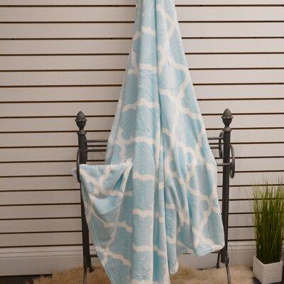 Quatrefoil Plush Soft Throw Blanket Color: Sky Blue