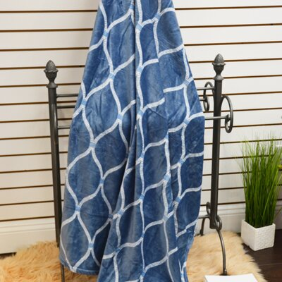 Marquise Soft Plush Throw Blanket Color: Dark Blue