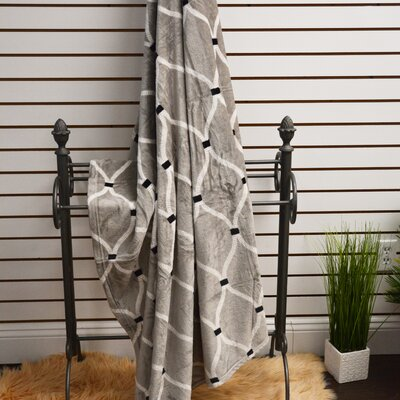 Marquise Soft Plush Throw Blanket Color: Grey