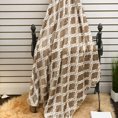 Geometric Plush Soft Throw Blanket Color: Camel