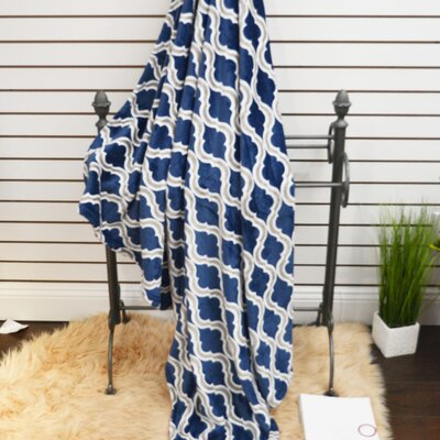 Geometric Plush Soft Throw Blanket Color: Dark Blue
