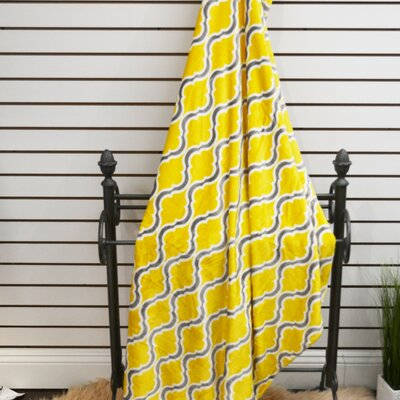 Geometric Plush Soft Throw Blanket Color: Yellow