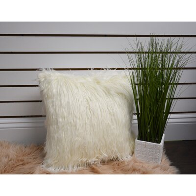 Anna Ricci Faux Fur Throw Pillow Color: White