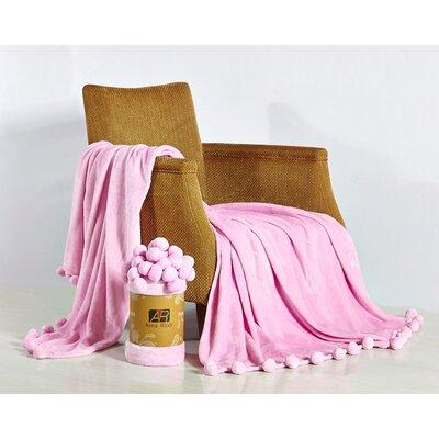 Pom Pom Blanket Color: Pink, Size: 60 x 78