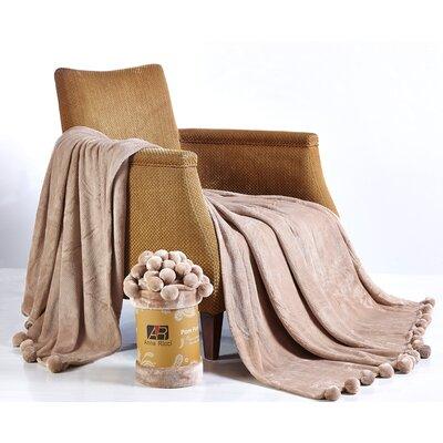 Pom Pom Blanket Color: Camel, Size: 78 x 86