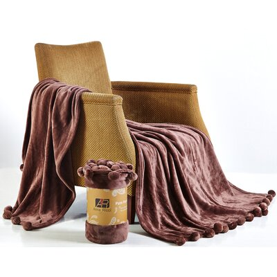 Pom Pom Blanket Color: Coffee, Size: 78 x 86