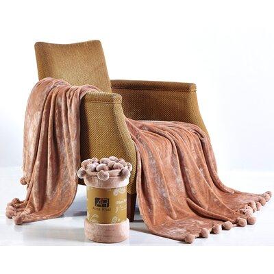 Pom Pom Blanket Color: Linen, Size: 78 x 86