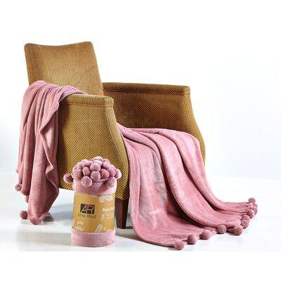 Pom Pom Blanket Color: Coral, Size: 60 x 78
