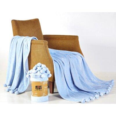 Pom Pom Blanket Color: Blue, Size: 60 x 78