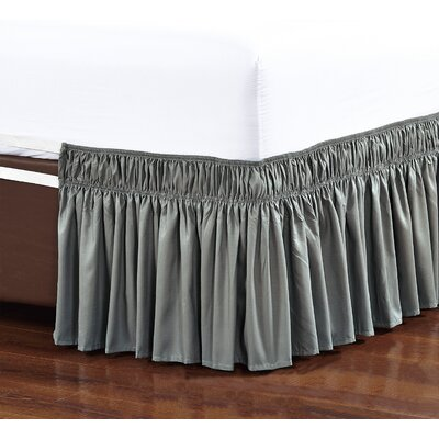 Easy Wrap Platform Free Dust Ruffle Bed Skirt Size: Queen/King, Color: Gray