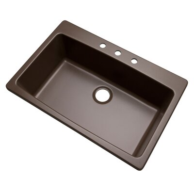 Rockland 33 x 22 Kitchen Sink Finish: Mocha, Faucet Drillings: 3 hole