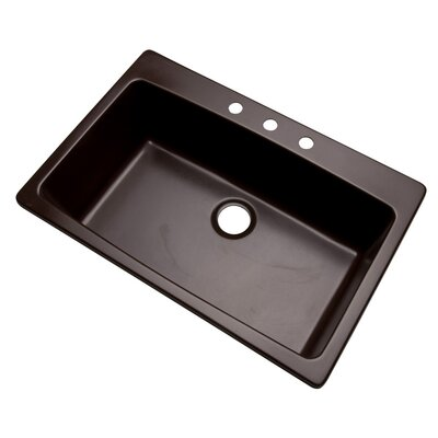 Rockland 33 x 22 Kitchen Sink Finish: Espresso, Faucet Drillings: 3 hole