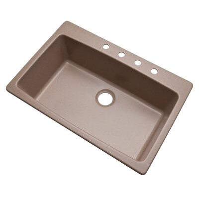 Rockland 33 x 22 Kitchen Sink Finish: Desert Sand, Faucet Drillings: 4 hole
