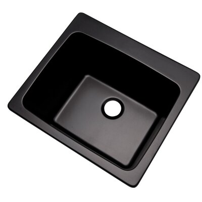 Wakefield 25 x 22 Single Laundry and Utility Sink Finish: Black, Faucet Drillings: 5 Hole