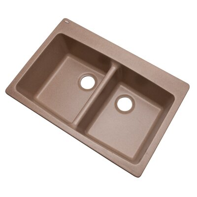 Waterbrook 33 x 22 Kitchen Sink Faucet Drillings: No hole, Finish: Natural