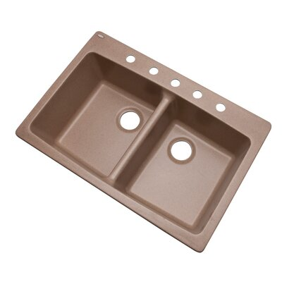 Waterbrook 33 x 22 Kitchen Sink Finish: Natural, Faucet Drillings: 5 hole