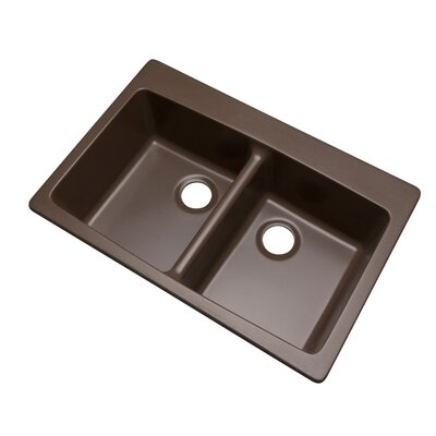 Waterbrook 33 x 22 Kitchen Sink Faucet Drillings: No hole, Finish: Mocha