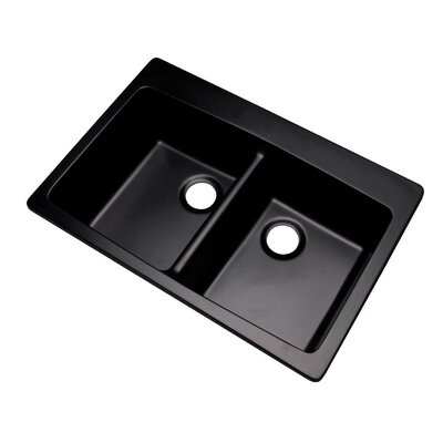 Waterbrook 33 x 22 Kitchen Sink Faucet Drillings: No hole, Finish: Black