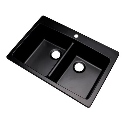 Waterbrook 33 x 22 Kitchen Sink Finish: Black, Faucet Drillings: 2 hole