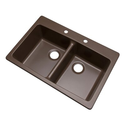 Waterbrook 33 x 22 Kitchen Sink Finish: Mocha, Faucet Drillings: 2 hole