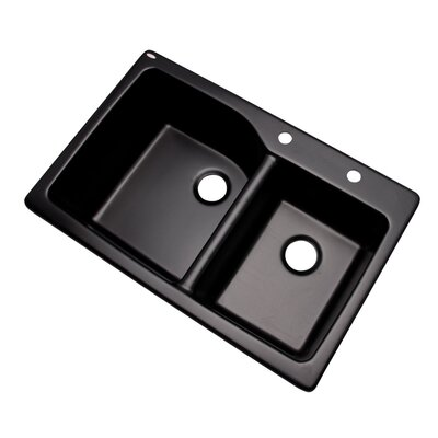 Grande 33 x 22 Double Basin Undermount/Drop-In Kitchen Sink Finish: Black, Faucet Drillings: 2 hole