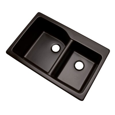 Grande 33 x 22 Double Basin Undermount/Drop-In Kitchen Sink Finish: Espresso, Faucet Drillings: No hole