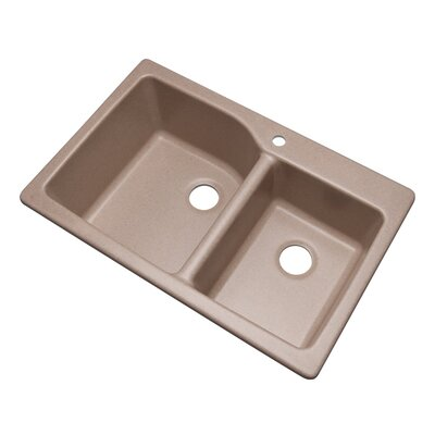 Grande 33 x 22 Double Basin Undermount/Drop-In Kitchen Sink Finish: Desert Sand, Faucet Drillings: 1 hole