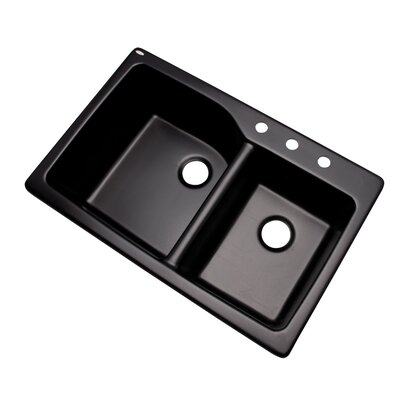 Grande 33 x 22 Double Basin Undermount/Drop-In Kitchen Sink Finish: Black, Faucet Drillings: 3 hole
