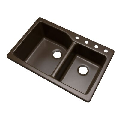 Grande 34.5 x 22 Kitchen Sink Finish: Mocha, Faucet Drillings: 4 hole