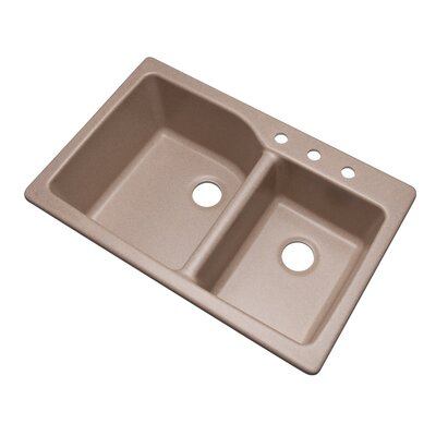 Grande 33 x 22 Double Basin Undermount/Drop-In Kitchen Sink Finish: Desert Sand, Faucet Drillings: 3 hole