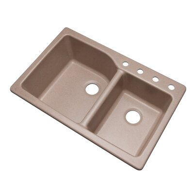Grande 33 x 22 Double Basin Undermount/Drop-In Kitchen Sink Finish: Desert Sand, Faucet Drillings: 4 hole
