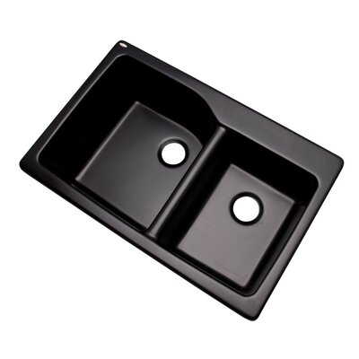Grande 33 x 22 Double Basin Undermount/Drop-In Kitchen Sink Finish: Black, Faucet Drillings: No hole