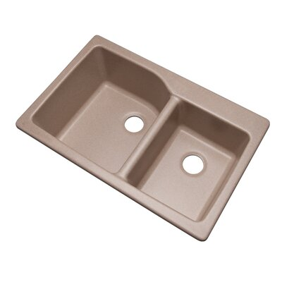 Grande 33 x 22 Double Basin Undermount/Drop-In Kitchen Sink Faucet Drillings: No hole, Finish: Desert Sand