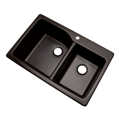 Grande 33 x 22 Double Basin Undermount/Drop-In Kitchen Sink Faucet Drillings: 1 hole, Finish: Espresso