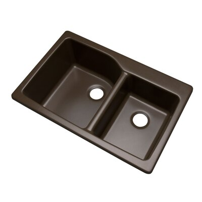 Grande 33 x 22 Double Basin Undermount/Drop-In Kitchen Sink Finish: Mocha, Faucet Drillings: No hole